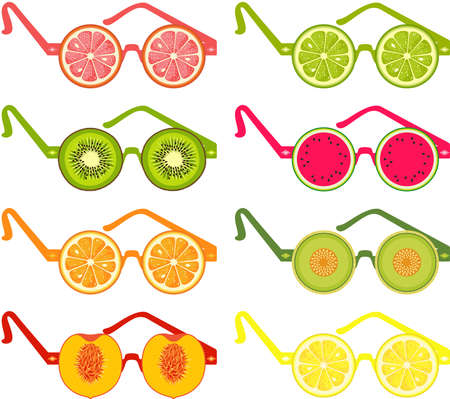 Set of sunglasses in different shapes of fruits