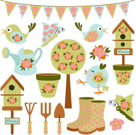 Set of different gardening spring digital elements