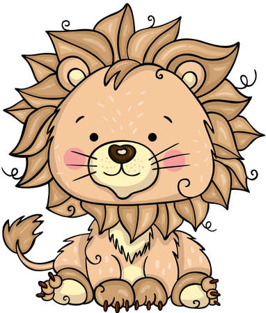 Funny lion isolated on white Иллюстрация
