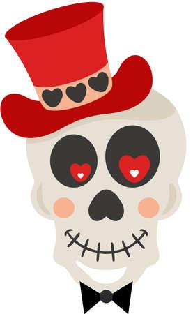 Valentine skull with red hat Иллюстрация