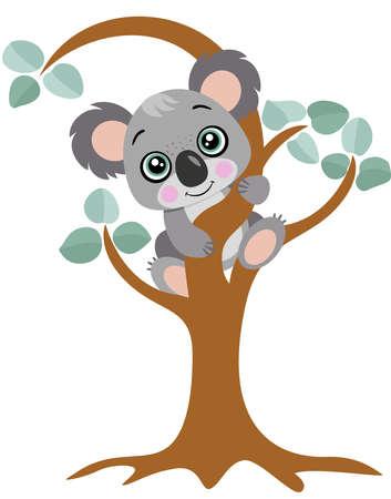 Cute koala hanging on an eucalyptus tree Иллюстрация