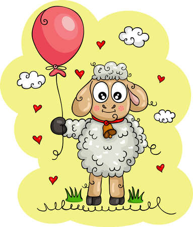 Cute illustration with funny sheep lamb holding a balloon