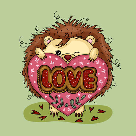 Scalable vectorial representing a funny hedgehog holding a love heart, colored vector hand drawn illustration in modern flat cartoon.