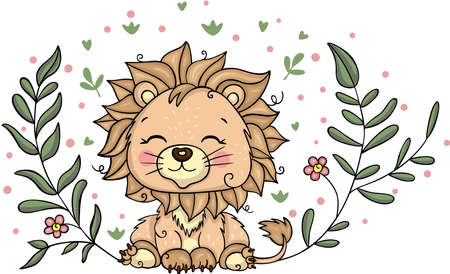 Cute illustration with lion and leaves
