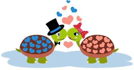 Couple of cute valentine turtles Иллюстрация