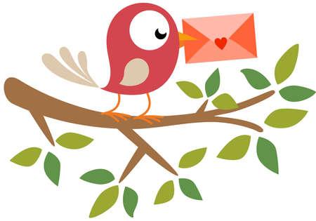 Happy bird on branch tree holding a valentine envelope