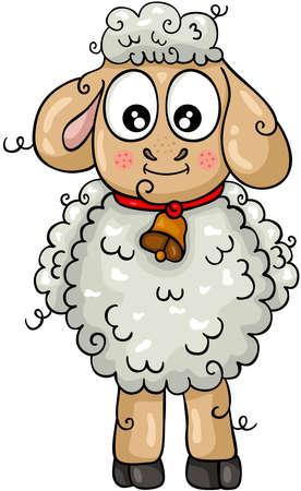 Funny sheep lamb isolated on white Иллюстрация