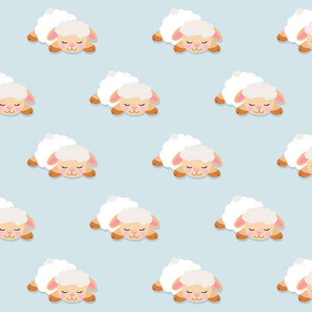 Seamless pattern of cute lamb sheep sleeping