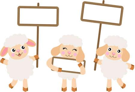Three cute lamb sheeps with empty signboards Иллюстрация