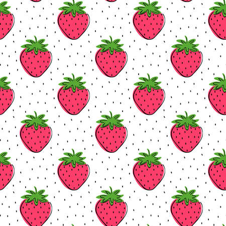 Seamless pattern of fresh strawberries