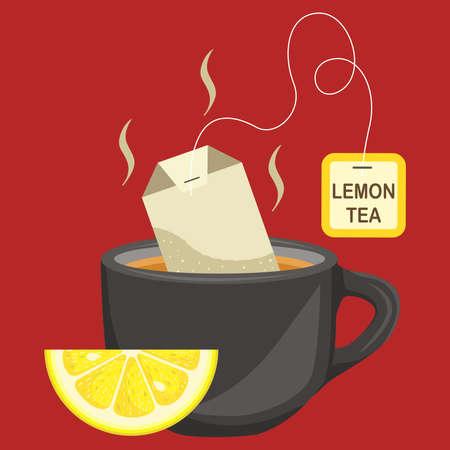 Cup of lemon tea illustration