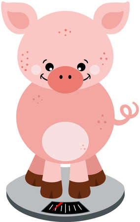 Curious cute pig weighing himself Иллюстрация