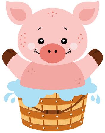 Happy pig in a wooden bathtub Иллюстрация