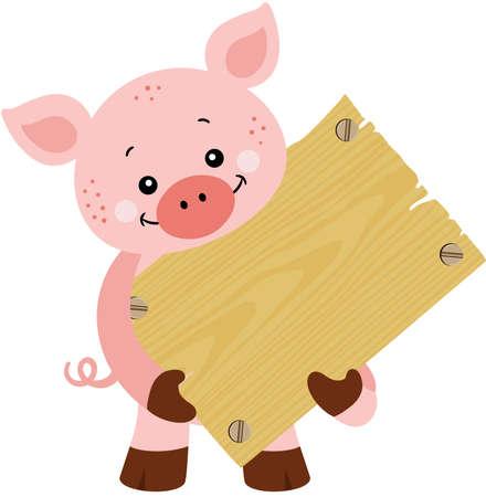 Cute pig holding a wooden signboard Иллюстрация