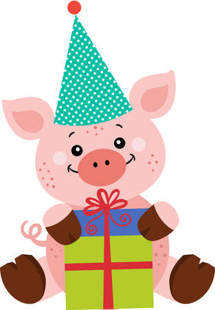 Happy birthday pig with gift Иллюстрация