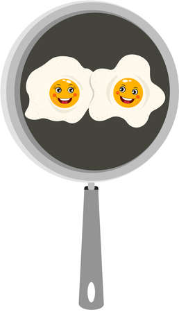 Funny two fried eggs in skillet Иллюстрация