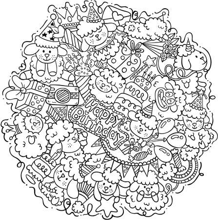 Coloring Page of Sheep Happy Birthday Round Doodle Иллюстрация