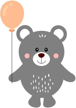 Friendly teddy bear holding a balloon Иллюстрация