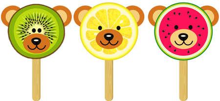 Teddy bear face shaped fruits ice cream on a wooden stick Иллюстрация
