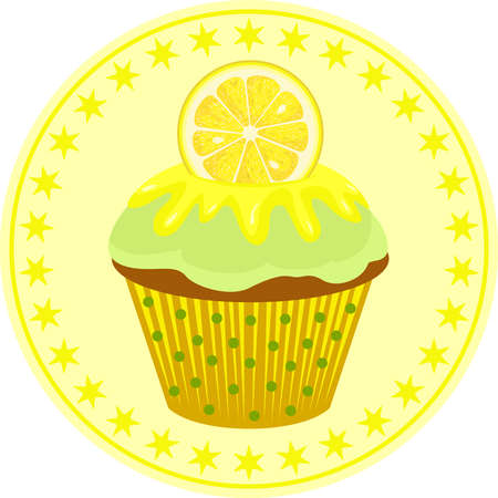 Lemon cupcake classic round sticker Иллюстрация