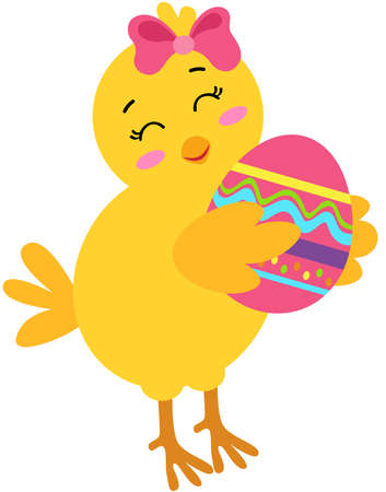 Scalable vectorial representing a yellow chick holding Easter egg, element for design, illustration isolated on white background.