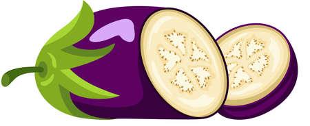 Fresh eggplant cut into half