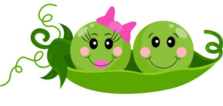 Two infant baby peas in a pod Иллюстрация