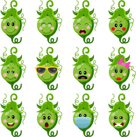 Funny green pea with feature a different expressions