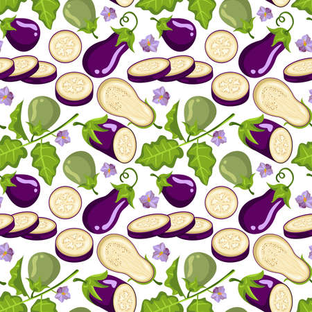 Eggplant summer vegetable seamless pattern Иллюстрация