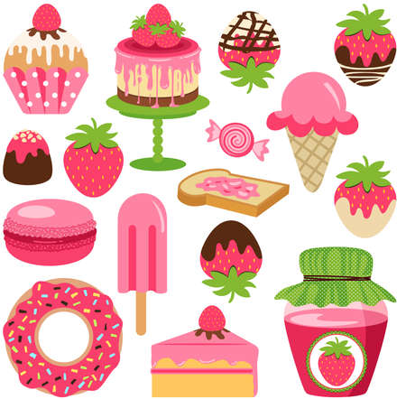 Fun package of strawberry with set digital element Иллюстрация