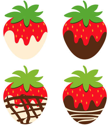 Scalable vectorial representing a chocolate covered strawberries flat fruit icon ,, element for design, illustration isolated on white background. Иллюстрация