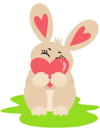 Cute and funny rabbit holding a heart Иллюстрация