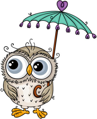 Scalable vectorial representing a adorable owl holding a small umbrella, element for design, illustration isolated on white background.
