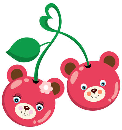 Scalable vectorial representing a pink cherries fruit shaped teddy bear faces, element for design, illustration isolated on white background.