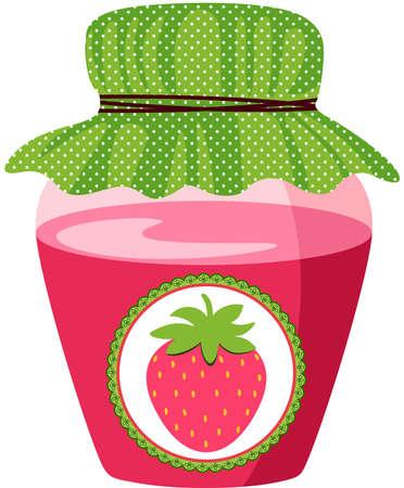 Glass jar with strawberry jam
