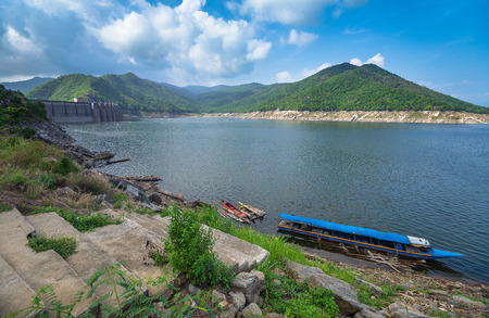when: Bhumibol Dam ,Tak province in Thailand.(HDR.Image has grain or blurry or noise when view at full resolution)