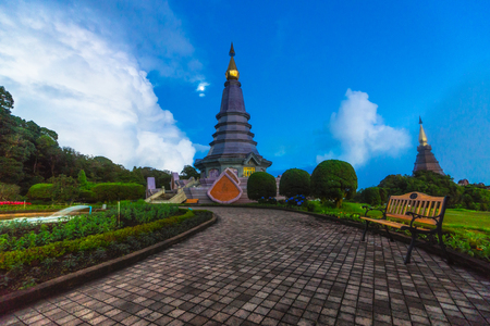 phon: Beautiful landscape of two pagoda on the top of Doi Inthanon National park, Chiang Mai, Thailand.