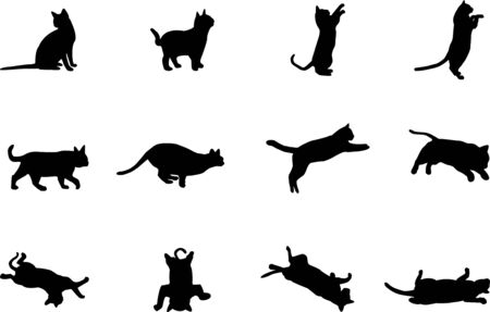 set cat black white background isolated logo icon vector illustration sign silhouette