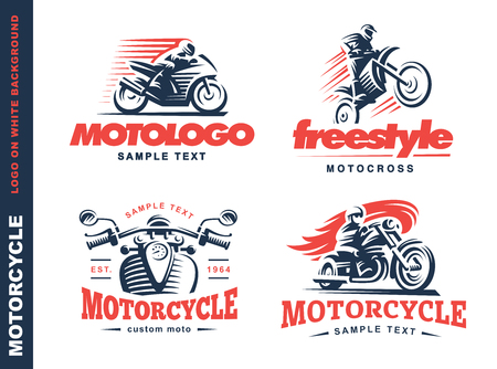 Motorcycle Shield emblem design on white background. Vectores