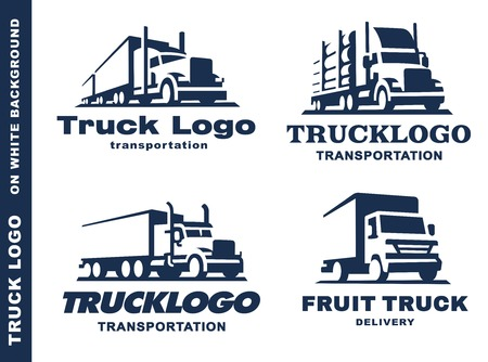 set of four with truck and trailer on white background.