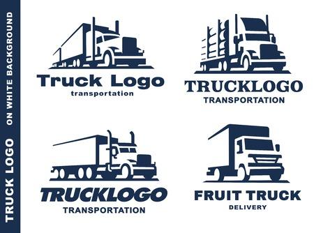 reeks van vier met vrachtwagen en aanhangwagen op witte achtergrond. Vector Illustratie