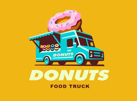 A illustration of food truck designs Donuts  イラスト・ベクター素材