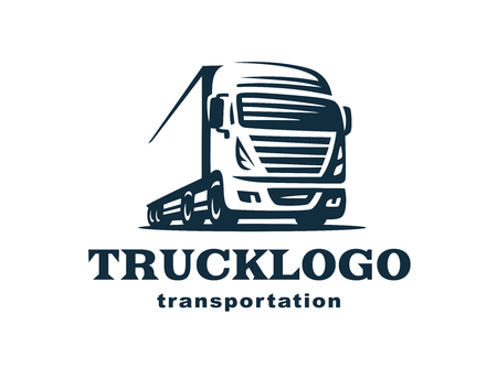 with truck on white background, monochrome style