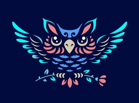 owl illustration - abstract emblem on a dark background