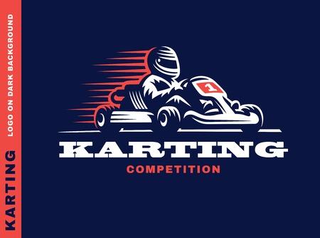 deportes caricatura: ganador de carreras de karts, ilustraci�n sobre un fondo oscuro