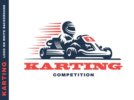 レーシングカート レース勝者、白い背景の上の図