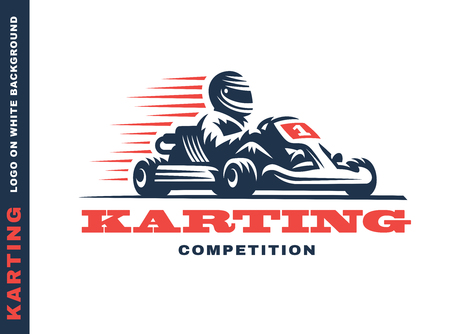 Kart racing winner, illustration on a white background Иллюстрация
