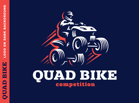 quad: Quad bike competition. design on a dark background Illustration