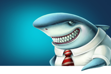 Illustration of business shark smiles slyly, cartoon.