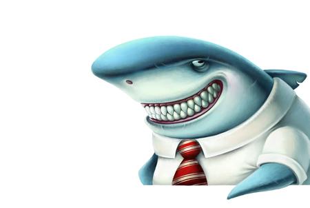 Illustratie van zaken haai glimlacht sluw, cartoon
